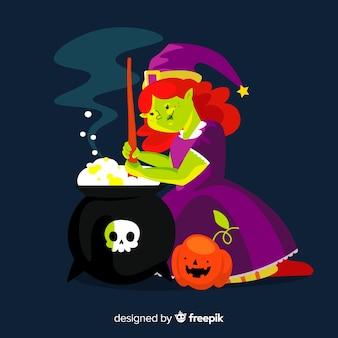 Dorosła czarownica i tygiel z czaszką