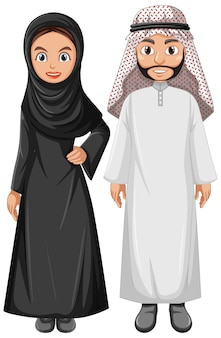 Dorosła para arabska ubrana w strój arabski