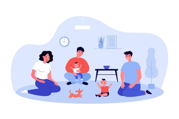 Dorośli bawią się z dziećmi siedzącymi na podłodze. ilustracja wektorowa płaski. młodzi rodzice, krewni, przyjaciele spędzający czas z małymi dziećmi i szczeniakiem. rodzina, dom, dzieciństwo, przyjaźń, koncepcja zwierzaka