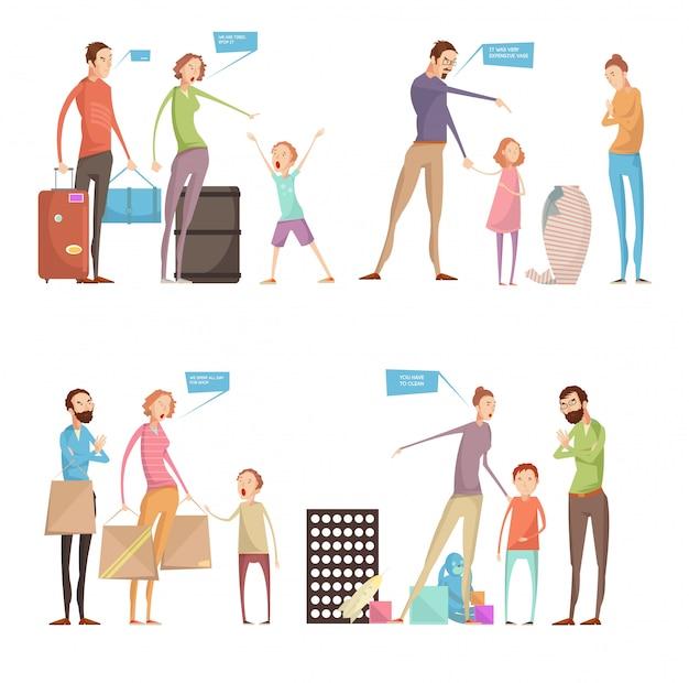 Dorośli nadużywają kompozycje konceptualne dla dzieci zestaw z rodzicami i postaciami dzieci mając kłótni wi