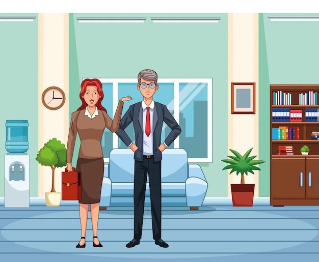 Dorosły bizneswoman i biznesmen przy biurowym tłem