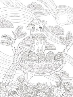 Dorosły kolorowanka lady bird z jajami