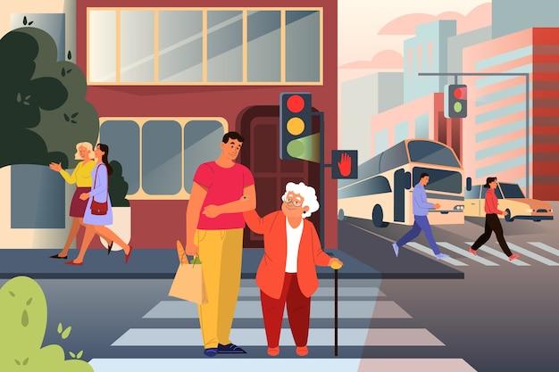 Dorosły męski charakter pomaga starszej pani przejść przez ulicę. mężczyzna wspiera staruszkę w mieście. pomoc dla emerytów. idea opieki i człowieczeństwa. ilustracja