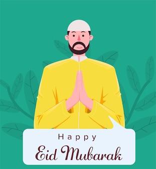 Dorosły mężczyzna muzułmanin wita szczęśliwy eid mubarak