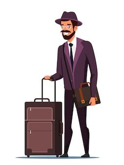 Dorosły mężczyzna turystyczny podróżnik w okularach garnitur kapelusz z walizką bagażową