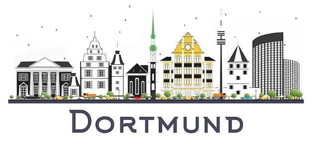 Dortmund niemcy panoramę miasta z kolorowymi budynkami na białym tle. ilustracja wektorowa. podróże służbowe i koncepcja turystyki z zabytkową architekturą. gród dortmundu z zabytkami.