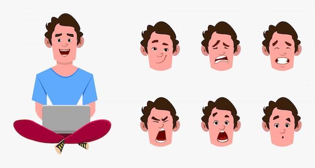 Dorywczo postać z kreskówki mężczyzna siedzi na podłodze i pracuje w laptopie