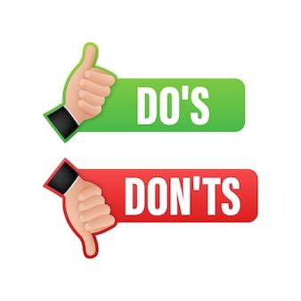 Dos i donts lubią kciuki w górę lub w dół. płaski prosty kciuk symbol minimalny okrągły logotyp element ustawić projekt graficzny na białym tle. ilustracji.