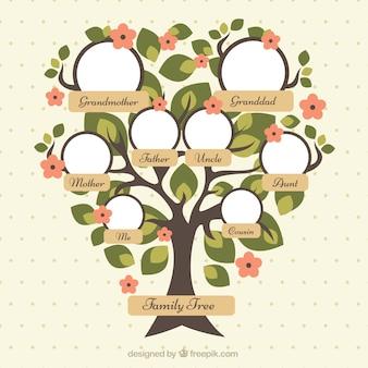 Dość drzewo genealogiczne z zielonych liści i czerwonych kwiatów