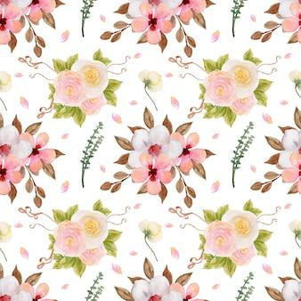 Dość kolorowy pastelowy akwarela kwiatowy wzór bez szwu