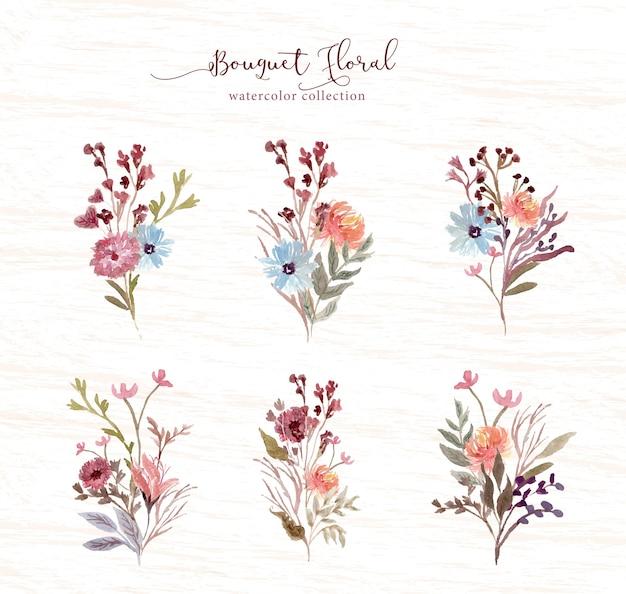 Dość kwiatowy bukiet akwarela kolekcja