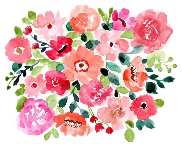 Dość kwiatowy tło akwarela