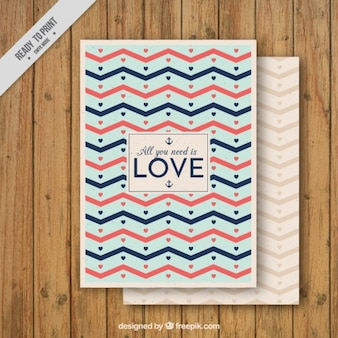 Dość miłości karty z paskami zig zag