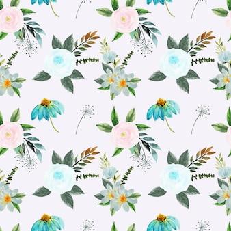 Dość różowy i niebieski kwiatowy wzór