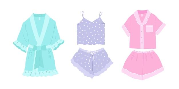 Dość wygodna piżama koszula nocna i szorty jedwabny szlafrok