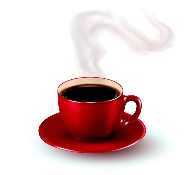 Doskonała czerwona filiżanka kawy z parą.