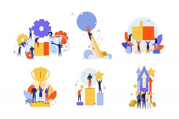 Doskonałość, sukces, motywacja, osiągnięcie, satysfakcja, zwycięstwo, koncepcja zestawu innowacji
