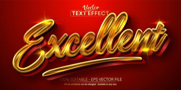 Doskonały tekst, efekt edycji tekstu w błyszczącym złotym stylu