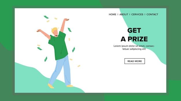 Dostać nagrodę pieniądze doping biznesmen wektor. szczęśliwy młody człowiek z podniesionymi rękami świętuj wygraną jackpot i zdobądź nagrodę. postacie finanse spadają, finansowy sukces sieci web płaskie ilustracja kreskówka