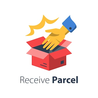 Dostarczanie zamówienia w sklepie, otwieranie pudełka i ręki, odbieranie kufla, przekazywanie paczek, odbieranie zakupów w sklepie, odbiór biura, płaska ilustracja