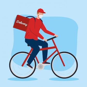 Dostawa bezdotykowa, pracownik kurierski przy użyciu maski w rowerze w ilustracyjnym projekcie