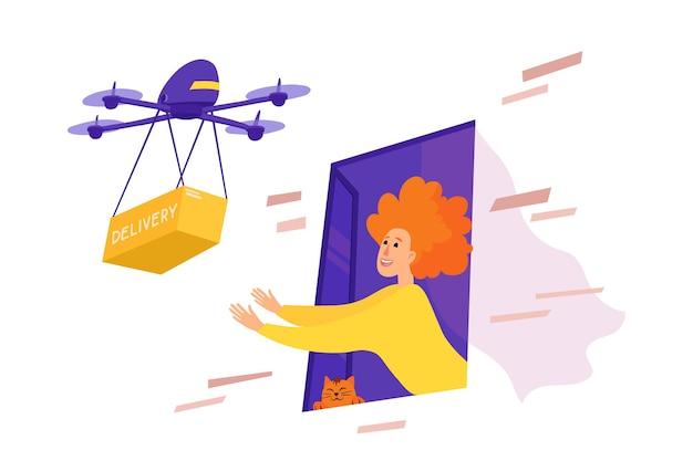 Dostawa bezkontaktowa dronem. kobieta podnosi paczkę z otwartego okna.