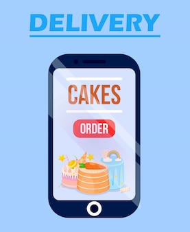 Dostawa cake online service app ze słodyczami.