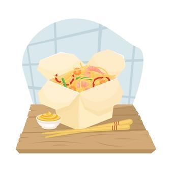 Dostawa chińskiej żywności w pudełkach do domu. azjatyckie jedzenie w pudełkach. makaron smażony z krewetkami i warzywami. położyć ilustrację.