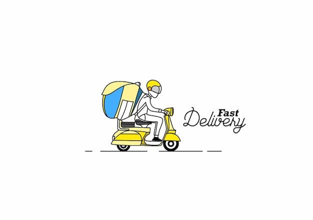 Dostawa chłopiec jeździć skuterem, zamówienie, szybka wysyłka, płaska linia wektor tle.