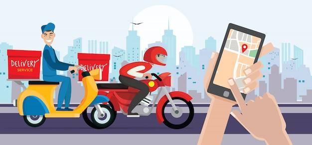 Dostawa człowiek jeździć na rowerze dostać zamówienie. ręka trzyma telefon inteligentny otwórz aplikację. szybka dostawa, wysyłka.