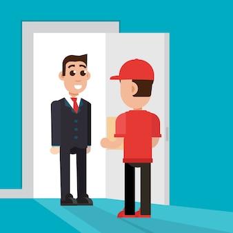 Dostawa do drzwi. postać człowieka dostawy. ilustracja.