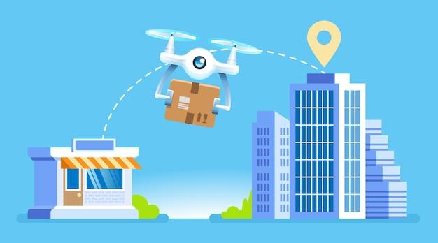Dostawa drona dron z paczką lecący ze sklepu do nowoczesnych budynków