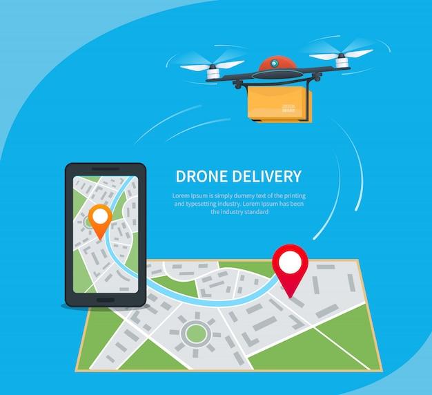 Dostawa dronów, quadkopter z kreskówek lecący nad mapą ze szpilką lokalizacji i niosący paczkę do klienta