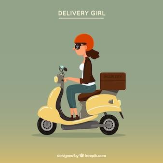 Dostawa dziewczyna na vintage skuter