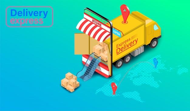 Dostawa ekspresowa ciężarówką na telefon komórkowy z gps z gps. zamówienie i paczka żywności online w handlu elektronicznym przez witrynę globalną. izometryczny płaski kształt.