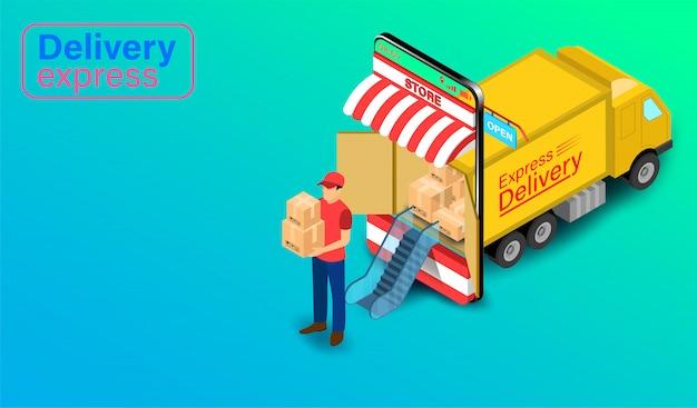 Dostawa ekspresowa przez osobę dostarczającą paczki z ciężarówką w aplikacji mobilnej. zamówienie i pakiet żywności online w handlu elektronicznym przez stronę internetową. izometryczny płaski kształt.