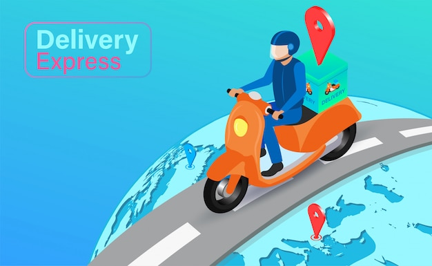 Dostawa ekspresowa przez skuter na całym świecie z systemem gps. zamówienie i paczka żywności online w handlu elektronicznym według aplikacji. izometryczny płaski kształt.