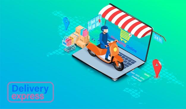 Dostawa ekspresowa przez skuter na laptopie komputerowym. zamówienie i paczka żywności online w e-commerce według aplikacji. izometryczny płaski kształt.