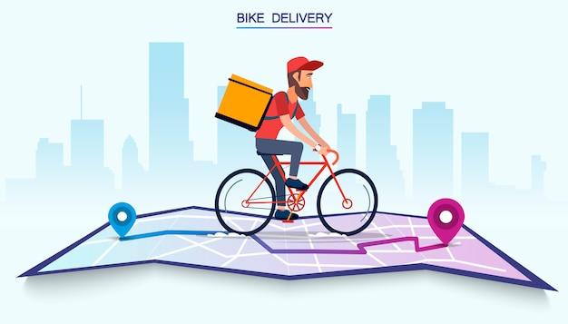 Dostawa, facet na rowerze niesie paczkę. miejski krajobraz. kurier jazdy rowerem fast food. ilustracja wektorowa płaska konstrukcja.