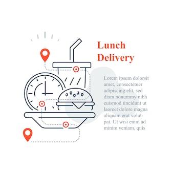 Dostawa fast foodów do domu, jeść w domu, zamówić posiłek, ikona linii