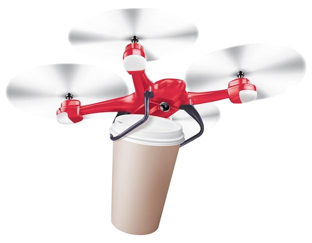 Dostawa filiżanki kawy drone realistyczna ilustracja kreatywnych