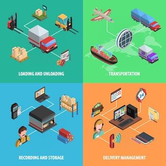 Dostawa i logistyczne kwadratowe izometryczny zestaw ikon