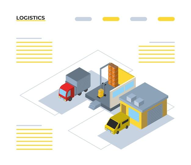 Dostawa i logistyka izometryczny projekt garaży i ciężarówek, transport, wysyłka i temat usług