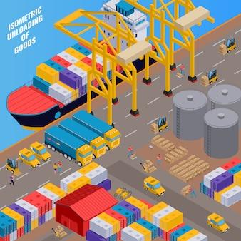 Dostawa i rozładunek towarów proces ze statku towarowego 3d izometryczny
