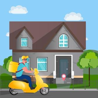 Dostawa jedzenia na skuterze. przez park jedzie facet z żółtym plecakiem. żółty motorower. pojęcie zamówień i dostaw żywności. ilustracji wektorowych