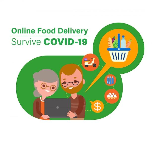 Dostawa jedzenia online podczas pandemii wirusa covid-19. seniorzy zamawiający artykuły spożywcze online. ilustracja kreskówka w stylu płaska konstrukcja.