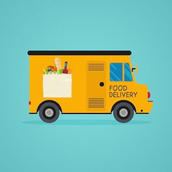 Dostawa jedzenia. usługa dostarczania zestawu posiłków. zamawianie online żywności, dostawa artykułów spożywczych, e-commerce.