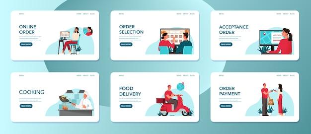 Dostawa jedzenia z punktu gastronomicznego do zestawu klienta. kobieta zamawia jedzenie, przygotowuje szefa kuchni i dostarcza przesyłki kurierskie. zestaw banerów internetowych dostawy online. ilustracja