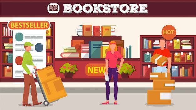 Dostawa książki do sklepu, ilustracja odbioru towaru.