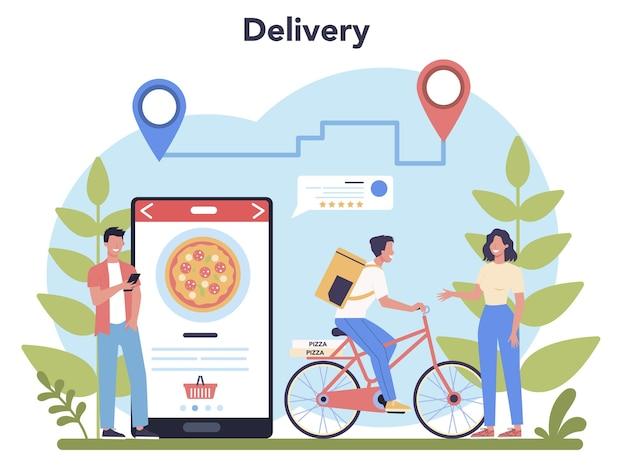 Dostawa. kurier w mundurze z pudełkiem z ciężarówki. dostawa jedzenia online. zamówienie towaru w internecie. ekspresowa koncepcja logistyczna.